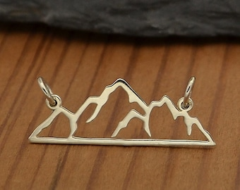 Sterling Silver Openwork Mountain Pendant Link, Mountain Jewelry, Mountain Charm Link, Adventure Lover Gift, Mountain Range Link, Nature