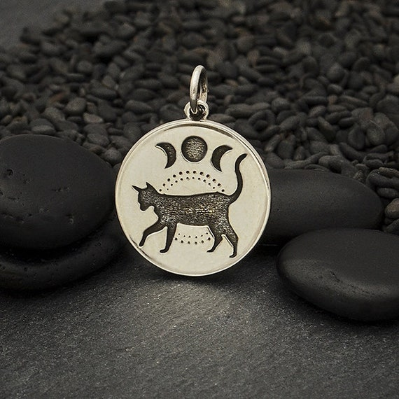 Celestial Jewelry Moon Phase Pendant Cat Lover Gift Sterling Silver Black Cat Charm with Moon Phases Yoga Jewelry Moon Charm,