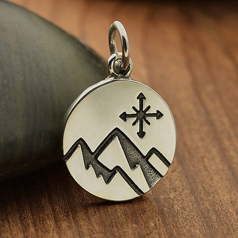 Silver Mountain Charm Mountain Charm with Compass Mountain and Compass Journey Charm