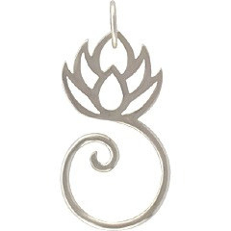 Lotus Pendant Charm Holder Silver Lotus Flower Lotus Charm Lotus Jewelry Lotus Flower Sterling Silver Silver Lotus Charm