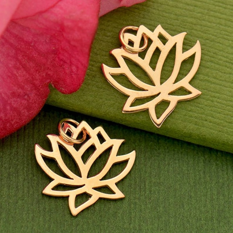 Small Silver Lotus Rose Gold Lotus Bronze Lotus Charm Lotus Charm Small Lotus Charm Silver Lotus Charm Tiny Lotus Sterling Silver