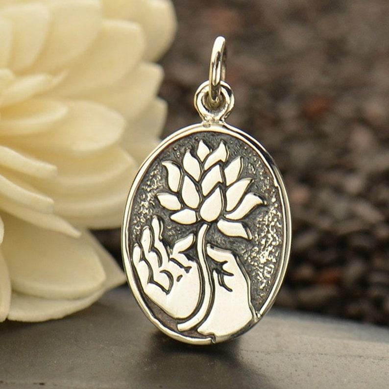Sterling Silver Buddha Hand Lotus Charm Buddha Charm Lotus Etsy