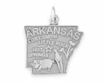 Oxidized Silver, Arkansas State Charm, Sterling Silver, Silver Arkansas, Silver State Charm, AR State, Natural State, Silver State Jewelry