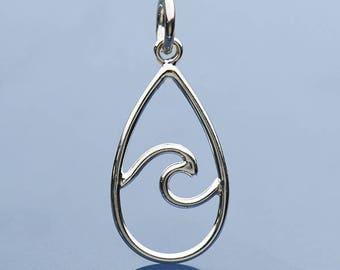 Sterling Silver, Wire Wave, Wave Pendant, Teardrop Charm, Wave Jewelry, Ocean Pendant, Ocean Charm, Ocean Jewelry, By the Sea Charm