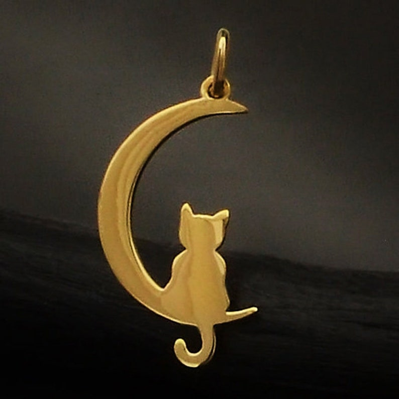 Crescent Moon Silver Cat Moon with Kitty Silver Cat with Moon Sterling Silver Silver Crescent Moon Moon Charm Cat and Moon