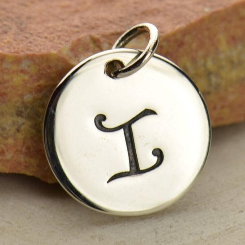 Cursive Letter Letter Charm Sterling Silver Personalized Jewelry Silver Letter Letter Disc Letter Jewelry Personalized Charm