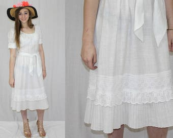 9a098754c21d Vintage 80s White Linen LACE Pleated Hem Retro Boho Wedding Party Midi Dress  M