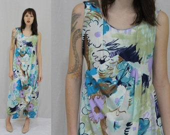 b97241267ede Vintage 70s MOD Abstract Floral Hawaiian Wide Leg JUMPSUIT W Attached  Sarong S M