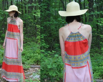 Vintage 70s Thin Semi Sheer HIPPIE Boho Tie Neck Scarf Retro Maxi Dress S M L