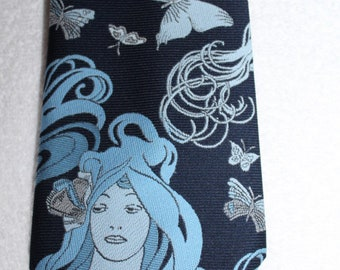 Vintage 70s Penn Traffice Navy Butterflies Goddess Lady Novelty Retro Mens Tie