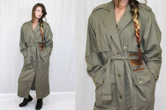 Vintage 80s Together Olive Green Army Retro TRENCH