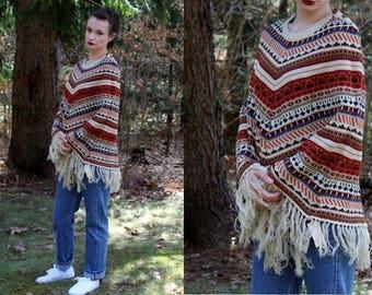 Vintage 70s Collage Cream Sweater Fringe Retro Poncho Cape Hippie Boho NOS S M