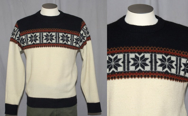 705fb22dd19a55 Vintage 70s Mens Campus Cream Navy SNOWFLAKE Retro Winter
