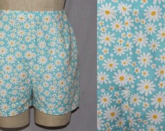 "Vintage 60s Bobbie Brooks Blue DAISY Daisies HIGH Waist Retro Zip Shorts 27""W M"