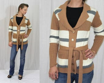 Vintage 70s Shawl Collar STRIPED Button Retro Belted Cardi Boho Sweater Jacket S