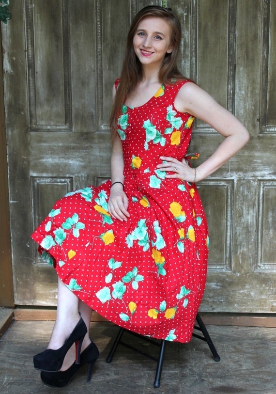 Vintage 80s 50s Red Polka Dot Yellow Green ROSE Re