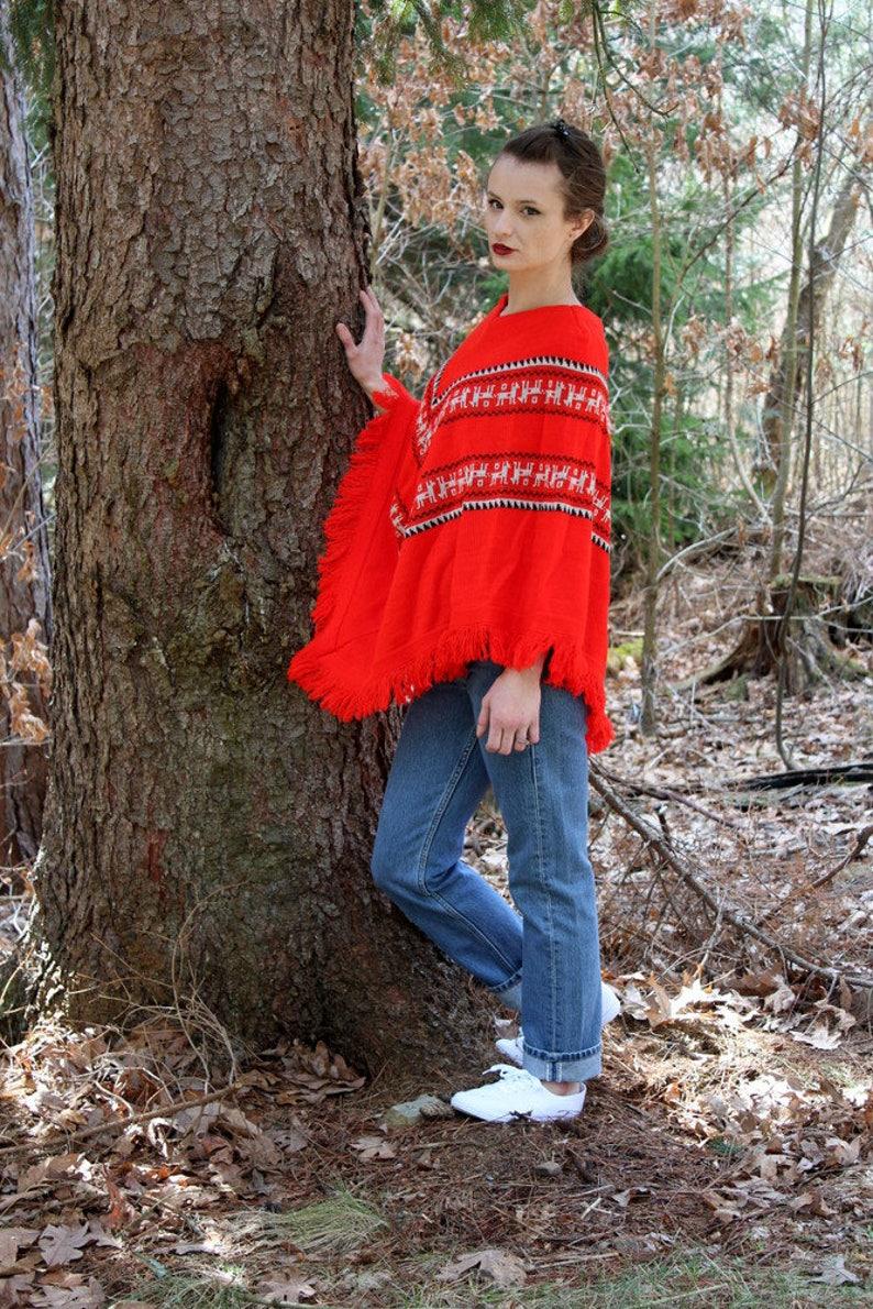 6f932d8c7 Vintage 70s Red ETHNIC Print Fringe Retro Sweater Knit PONCHO | Etsy