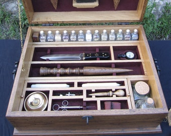 Vampire Hunting Kit Antique Reproduction, Slayer Chest, Secret Compartment, Vampire Stakes, Hand Dovetailed Case, Bible, Dagger, Herbs, Lock