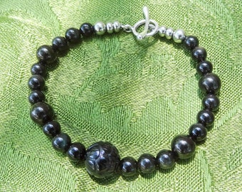 Memento Mori Mourning Wear Healing Crystals Bracelet Jet Black Onyx Obsidian Stone Bead Victorian Goth Funeral Pewter Toggle Stainless Steel