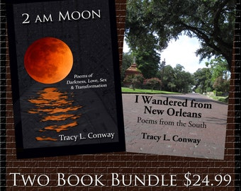 Poetry Book, 2 a.m. Moon, I Wandered from New Orleans, Two Book Bundle, Paperback, signed upon request Tracy L. Conway Two AM poems
