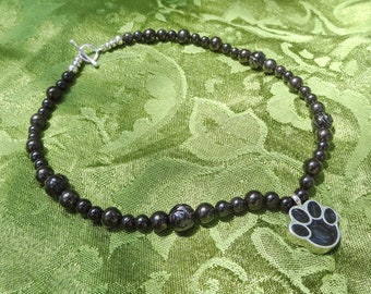 Memento Mori Mourning Wear Healing Crystals Necklace Cremation Pendant Pet Paw Print Memorial Jet Black Onyx Obsidian Stone Bead Victorian