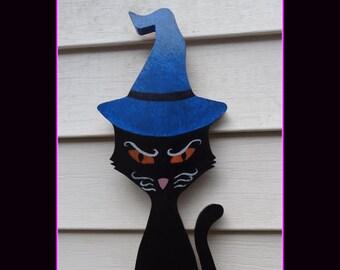 "Black Cat Wizard Halloween Decor Hand Painted Indoor Decoration 18"" Tall Original Design Vintage feel Halloween Cat Spooky Sign Decorations"