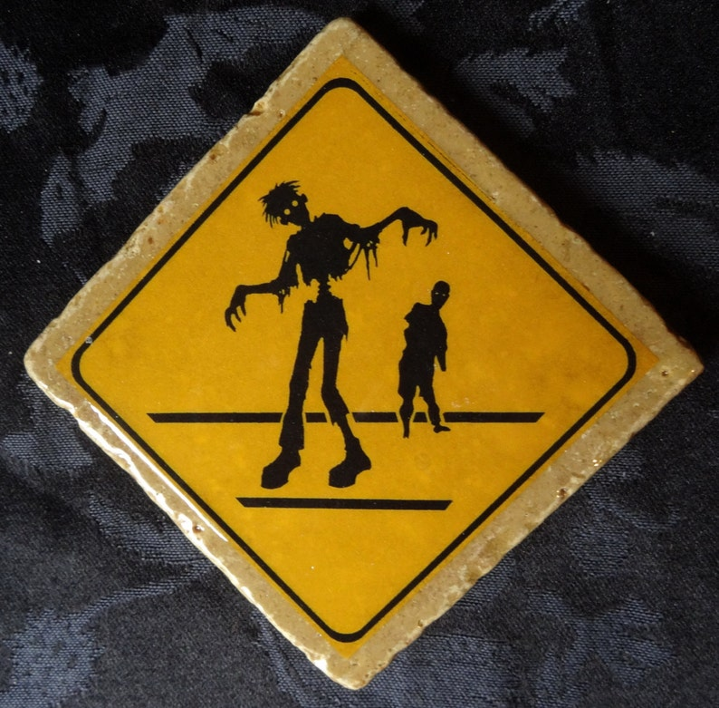 Zombies Crossing Zombie Road Warning Sign Coaster Series image 0