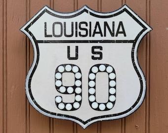 Louisiana Highway 90 Vintage Reproduction Cat's Eye Reflective Sign Indoor Decor Cataphote Reflector
