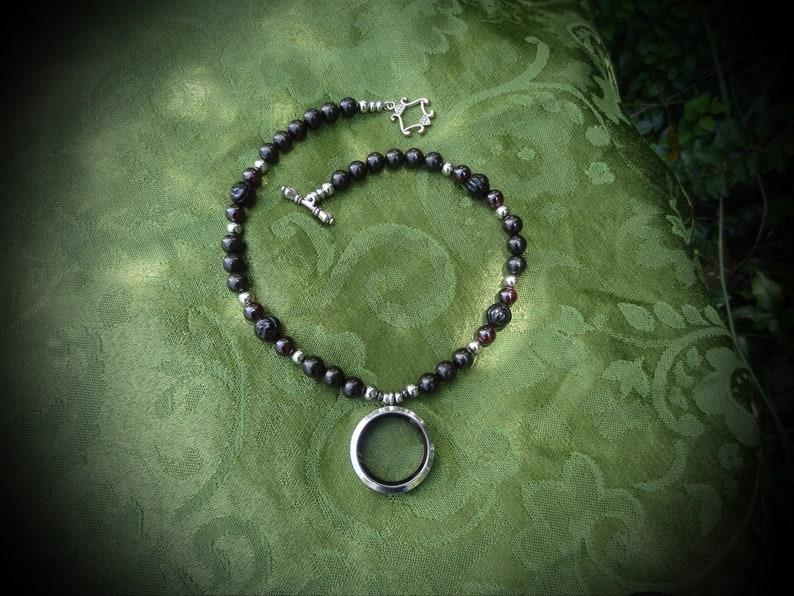 Mourning Jewelry Memento Mori Jet Necklace Onyx Flower image 0