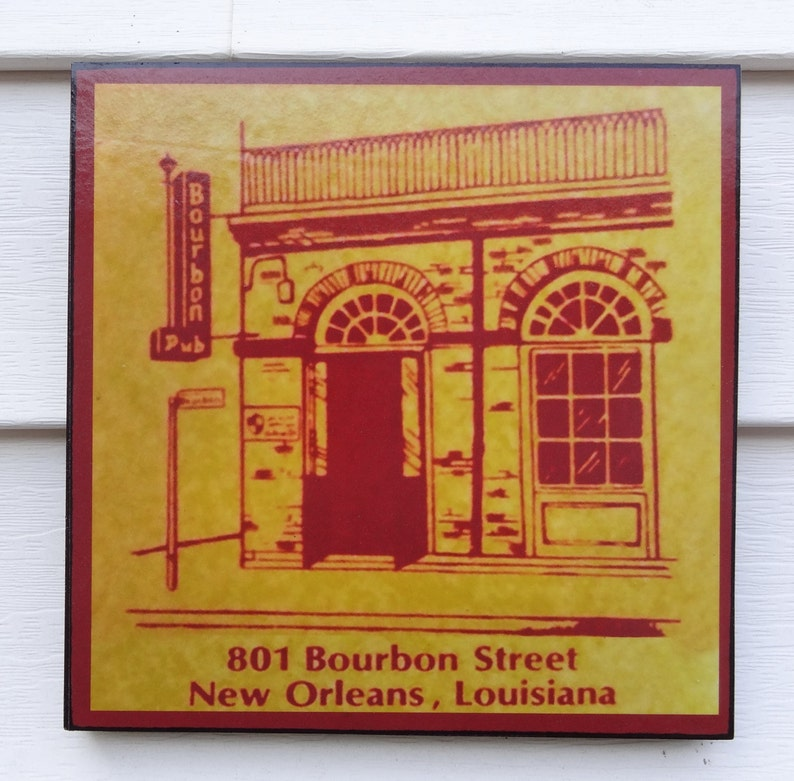 New Orleans BOURBON PUB and PARADE Novelty Sign 1970s image 0