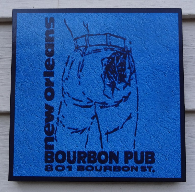 New Orleans BOURBON PUB and PARADE Novelty Sign 1980s image 0