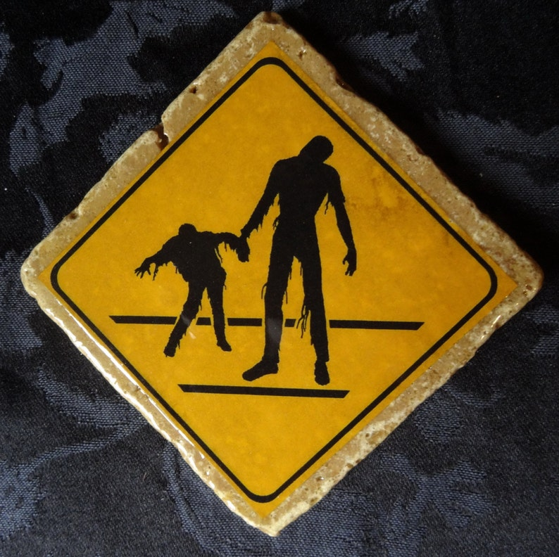 Double Crossing Zombie Road Warning Sign Coaster Series image 0