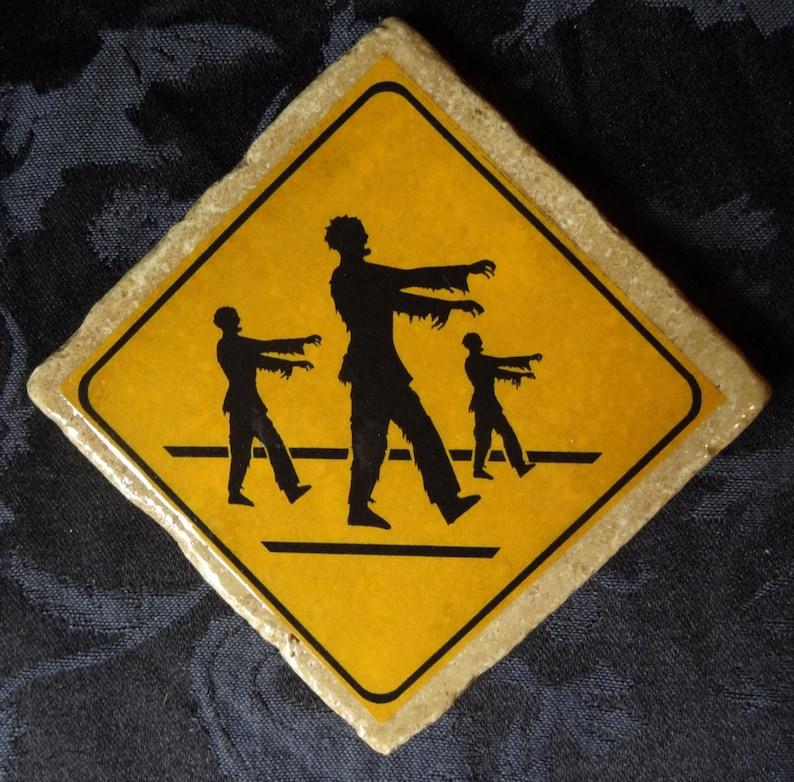 Triple Crossing Zombie Road Warning Sign Coaster Series image 0