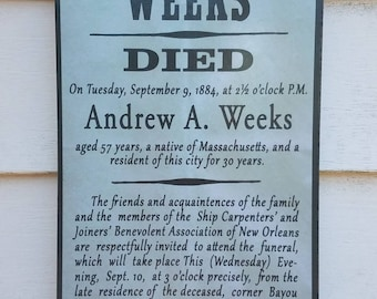 Andrew Weeks Victorian Funeral and Death Notice New Orleans Ship Carpenters Joiners Mourning Reproduction Post Sign Decor History Authentic