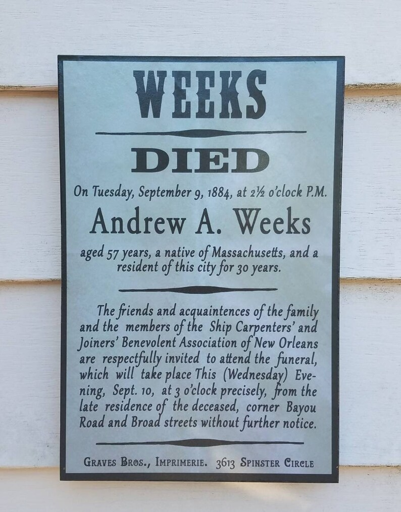 Andrew Weeks Victorian Funeral and Death Notice New Orleans image 0