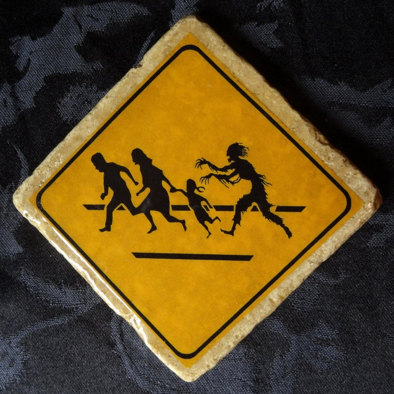 Slow Crossing Zombie Road Warning Sign Coaster Series image 0