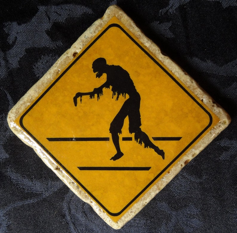 Creepy Crossing Zombie Road Warning Sign Coaster Series image 0