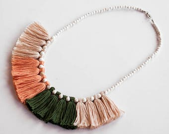 Peach Tassel Necklace, Green Tassel Necklace, Green Jewellery, Tassel Jewelry, Tribal Accessories, Bib Necklace, Tassel Necklace, Bohemian