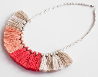 Pink Tassel Necklace, Bridesmaid Gift, Gifts for Her, Hot Pink Necklace, Pink Statement Necklace, Statement Jewellery, Tassel Necklace, Boho