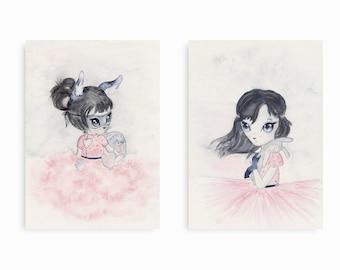 Set of 2 Art Prints/ Girls Nursery Decor/ Nursery Wall Art/ Childrens Art Prints/Wall Art for Kids/ Kids Room Decor/ Girls Room Prints