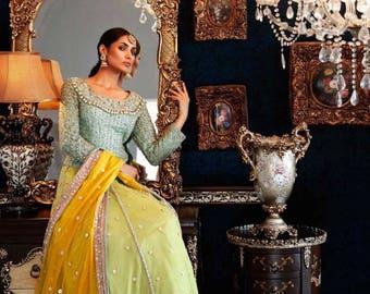 Mehndi Bridal Lehnga : Beige bridal lehenga pakistani dress