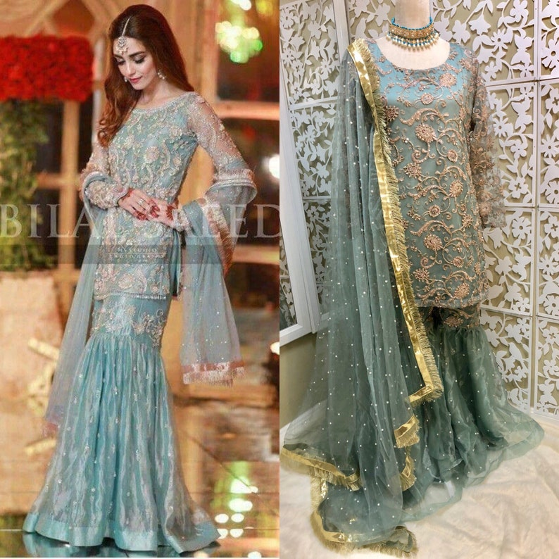 2e6fc4ffba Women Ice Blue Formal Shirt with Gharara Embroidery Shirt
