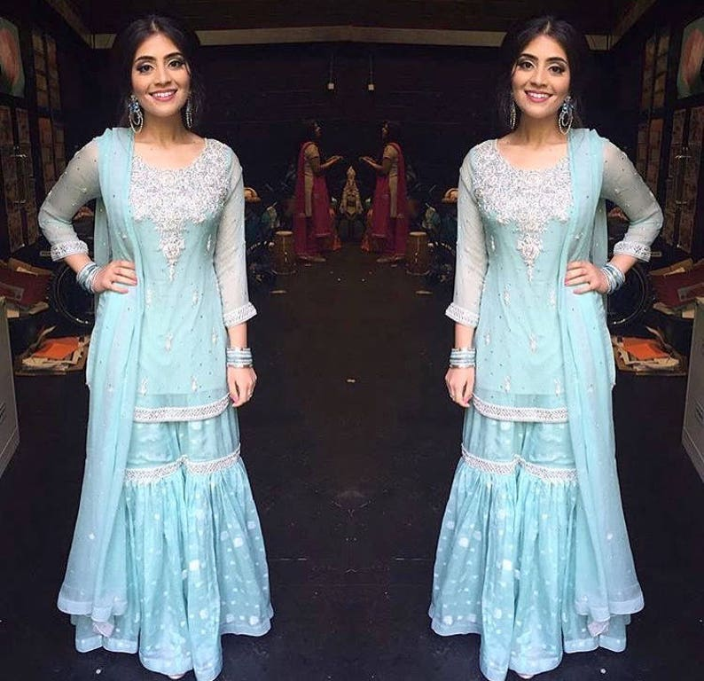 Gharara with Short Shirt, Hand Embroidery, Pakistani Wedding Dresses,  Formal Dresses, Indian, Bollywood , Southasian Gharara