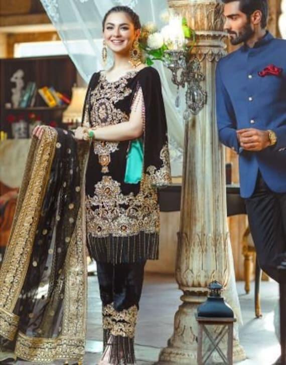 2ef68638fb Black Velvet Embroidery Suit RangRasiya Wedding Collection | Etsy
