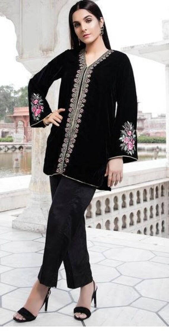 Black Velvet Jacket Women Black Velvet Jacket With Floral Etsy
