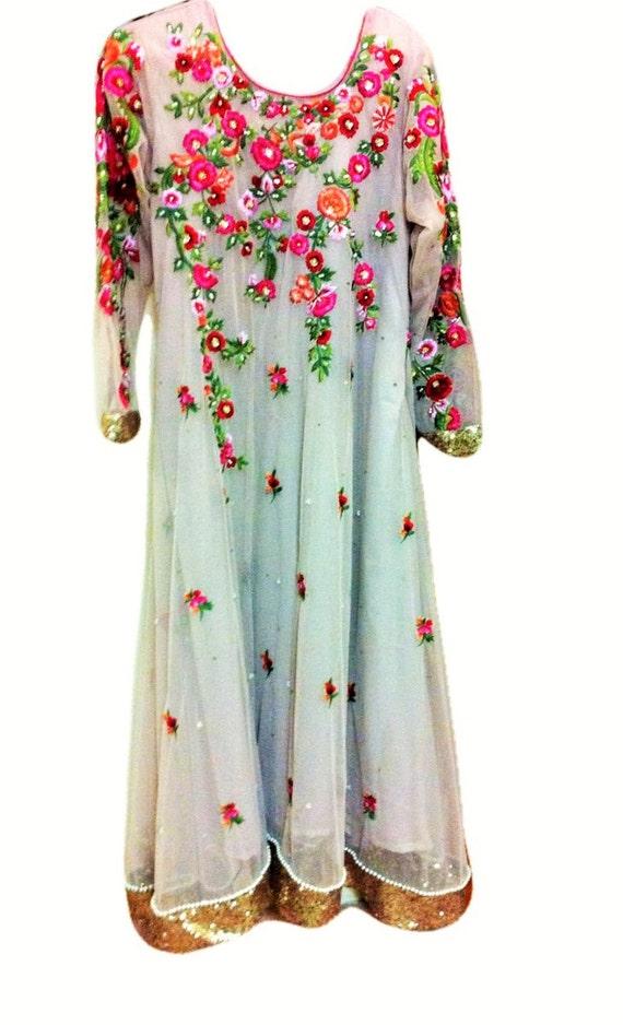 Pakistanische Kleid Blumen Perlen bestickt Kleid-3Pc | Etsy