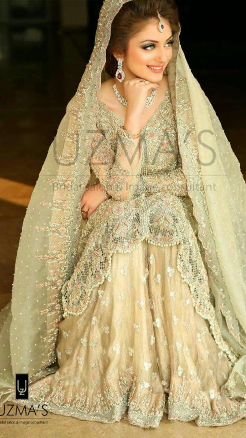 ce4fcf1ab67 Pakistani Bridal Dress Pastel Green and Pink Heavy Wedding