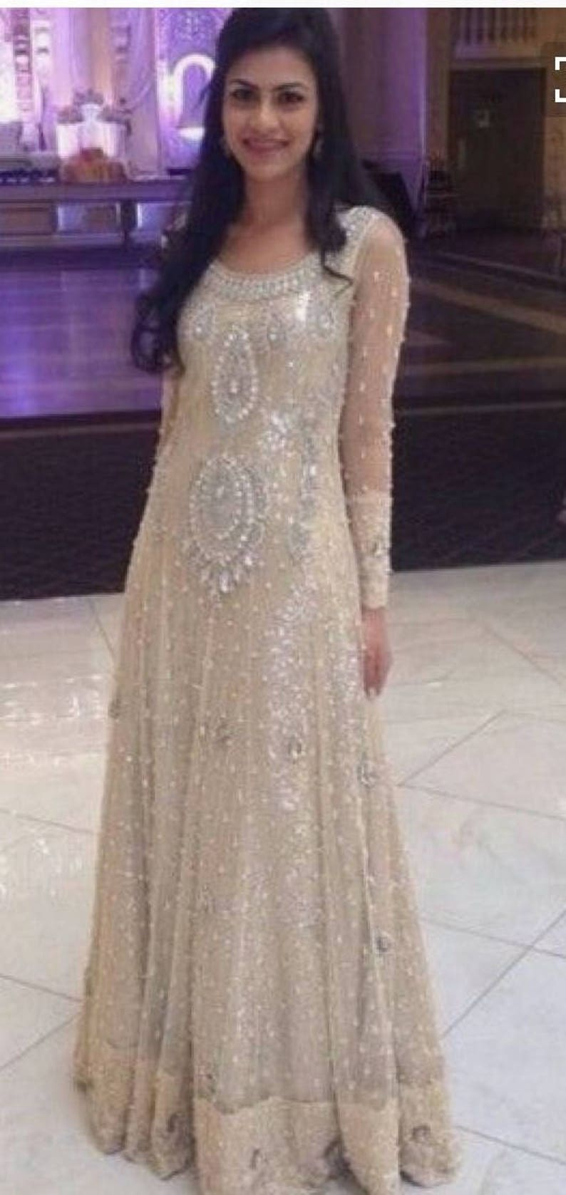 Champagne Beaded Maxi Pakistani Maxi Maxi Dress Women Long Sleeve Maxi Formal Maxi Formal Gown Prom Dress
