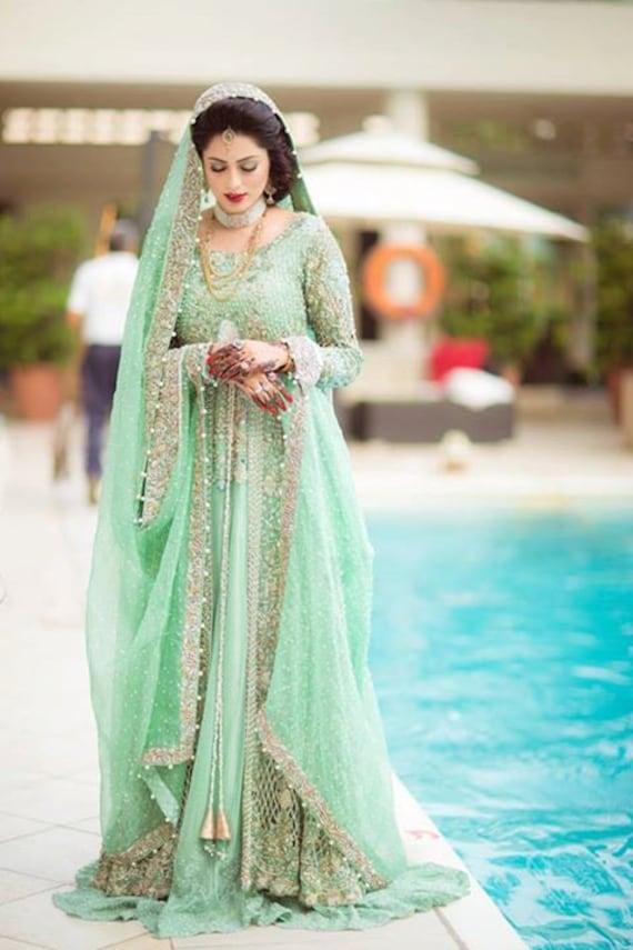 Pakistanische Brautkleid Elan inspirierte Garten Abend Nebel | Etsy