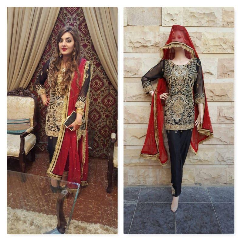 cd8cb3fa60 Pakistani Wedding Formal Shalwar Kameez Black & Red Shalwar | Etsy
